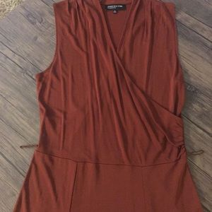 Sleeveless faux wrap deep rust dress